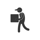 Delivery man cardboard box with cap figure pictogram. Illustration eps 10 Royalty Free Stock Photos