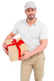 Delivery man with cardboard box Royalty Free Stock Images