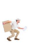 Delivery man with cardboard box Royalty Free Stock Photography