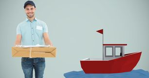 Delivery man carrying cardboard box by 3d boat Royalty Free Stock Image