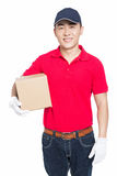 Delivery man carrying cardboard box Royalty Free Stock Photography