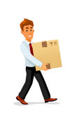 Delivery man is carrying a cardboard package Stock Photos
