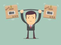 Delivery man. Cartoon character with cartons box . Stock Photos