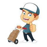 Delivery Man holding trolley Royalty Free Stock Photos