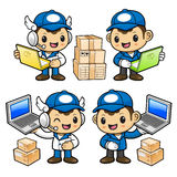 Delivery Man Character article has been testing supplies as note Royalty Free Stock Image