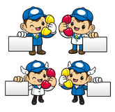 Delivery Man Character is call and holding a business cards. Stock Images