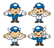 Delivery Man Character the direction of pointing with both hands Stock Photos