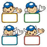 Delivery Man Character Guides Gestures is holding a board. Royalty Free Stock Images
