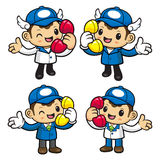 Delivery Man Character has telephone conversation. Stock Images