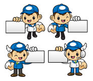 Delivery Man Character is holding a business card and box. Stock Photos