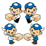 Delivery Man Character is holding a Delivery Box of both hands. Stock Photo