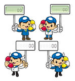 Delivery Man Character is holding a Electronic License Plate. Stock Photography