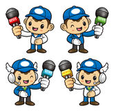 Delivery Man Character is holding a Microphone. Royalty Free Stock Photography