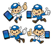 Delivery Man Character is holding a smart phone and on Running. Stock Images