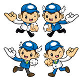 Delivery Man Character is hook pinkies and make a promise . Royalty Free Stock Photography