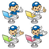 Delivery Man Character information desk in notebook computer. Stock Photos