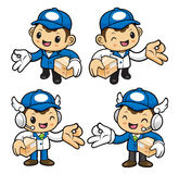 Delivery Man Character is Money gestures and holding a boxes. Stock Image