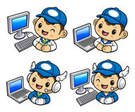 Delivery Man Character and Personal computer. Stock Photos