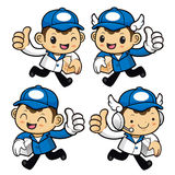 Delivery Man Character on Running Best gesture and holding a box Stock Images