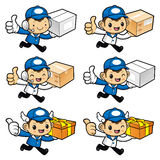 Delivery Man Character on Running and holding a box. Stock Photos