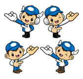 Delivery Man Character is taking the gesture of promise. Stock Image