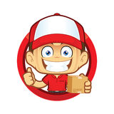 Delivery man courier holding a box and giving thumbs up in circle shape. Clipart picture of a delivery man courier cartoon character holding a box and giving Royalty Free Stock Photography