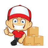 Delivery man courier leaning on box. Clipart picture of a delivery man courier cartoon character leaning on box Stock Photo