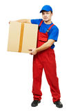 Delivery man courier with parcel cardboard box Royalty Free Stock Photo
