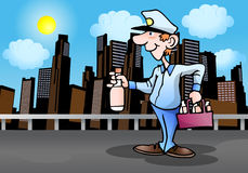 Delivery man deliver cold drink Royalty Free Stock Photos