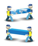 Delivery Man Delivering Worldwide Illustration. Deliveryman offers worldwide delivering services Stock Images
