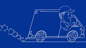 Delivery Man Driving Van Drawing 2D Animation stock video