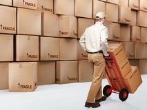 Delivery man on duty Stock Photo