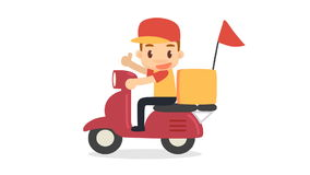 Delivery man. Food delivery. vector illustration