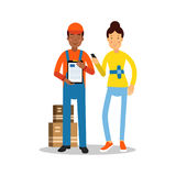 Delivery man handing over a parcel to customer cartoon characters vector Illustration Stock Photo