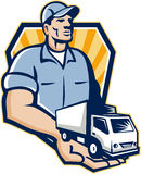 Delivery Man Handing Removal Van Crest Retro. Illustration of a removal man delivery guy with moving truck van on the palm of his hand handing it over to you set Stock Image