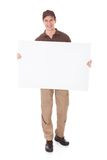 Delivery Man Holding Banner Stock Image