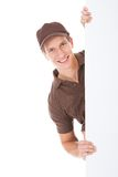 Delivery Man Holding Banner Stock Photo