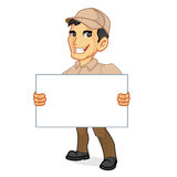 Delivery man holding blank sign Royalty Free Stock Photography