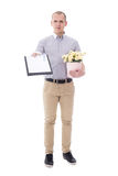 Delivery man holding clipboard and cardboard box of flowers isol Royalty Free Stock Images