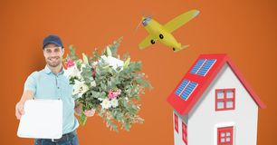 Delivery man holding clipboard and flowers by house and airplane. Digital composite of Delivery man holding clipboard and flowers by house and airplane Royalty Free Stock Images