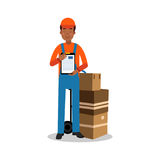 Delivery man holding delivering and documents, courier in uniform at work cartoon character vector Illustration. Delivery man delivering boxes and documents Stock Photography