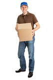 Delivery man holding package box Stock Image