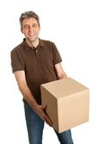 Delivery man holding package box Royalty Free Stock Photos