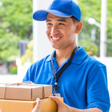 Delivery man holding a parcel box Royalty Free Stock Photos
