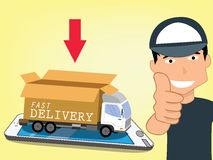Delivery man holds a finger. To demonstrate excellent service in service. In flat vector style Stock Images