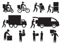 Delivery Man Icon Set Royalty Free Stock Photo
