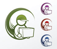 Delivery Man Icons. Icon of a delivery man Stock Image