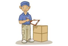 Delivery Man. Illustration of a delivery man with boxes Royalty Free Stock Image