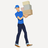 Delivery man - Illustration. Young Smiling Delivery man carries boxes Royalty Free Stock Photos