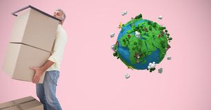 Delivery man lifting parcels by low poly earth Royalty Free Stock Image
